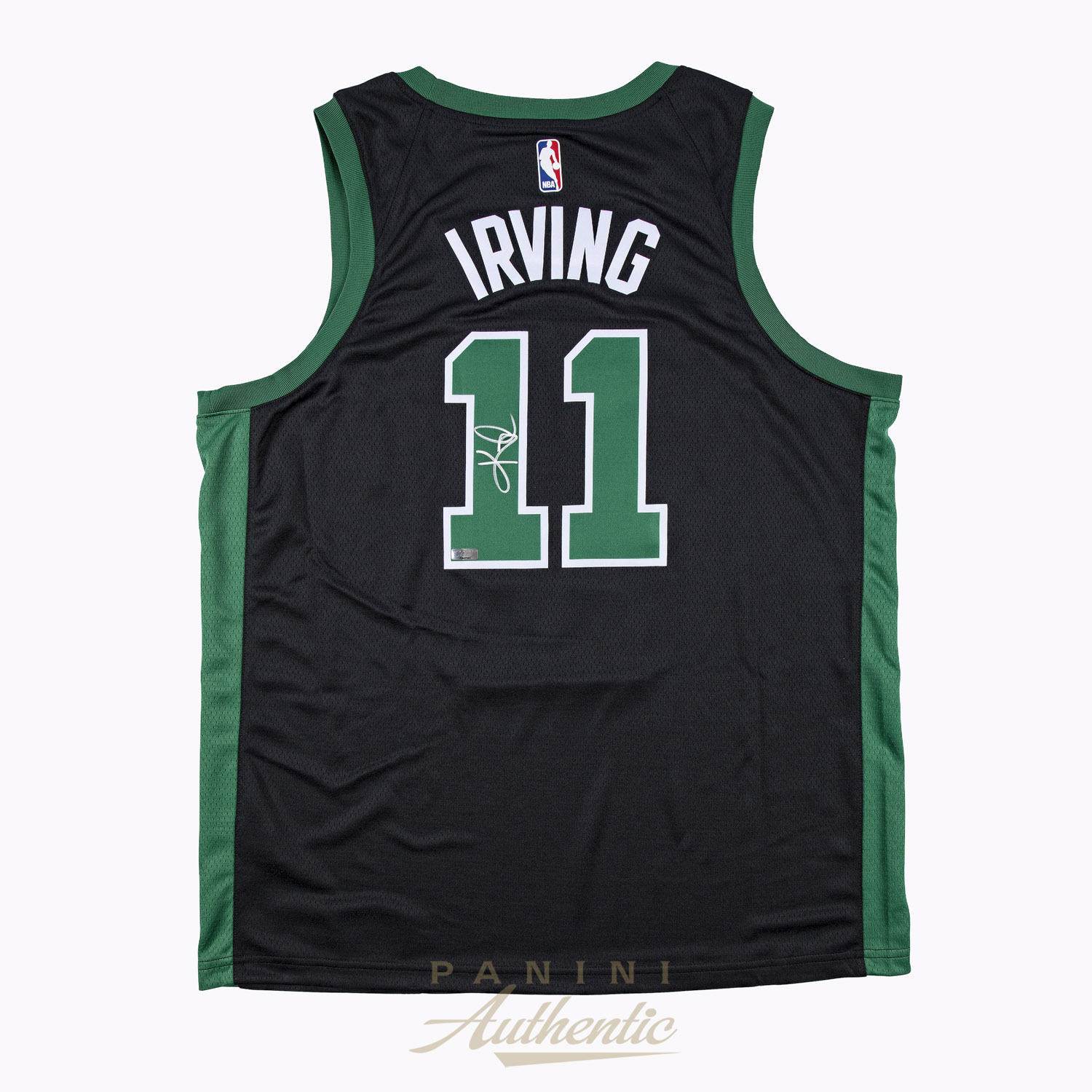 brand new 9a633 1ff5e Kyrie Irving Autographed Boston Celtics Black Nike Swingman ...
