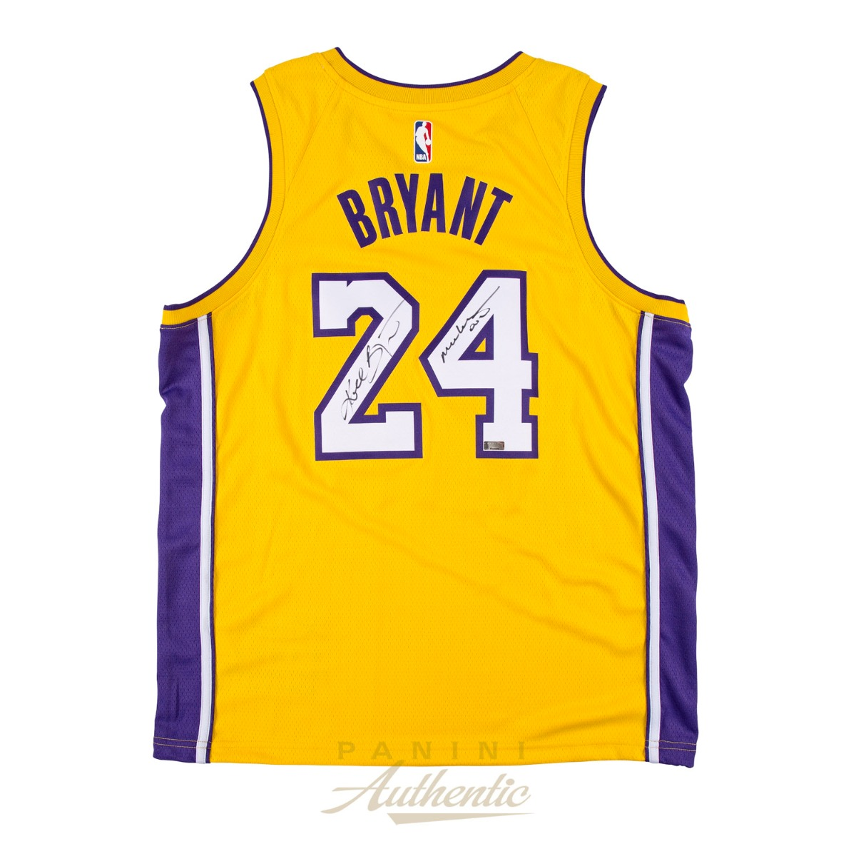 73fbaa28759 Kobe Bryant Autographed Gold Nike Retirement Ceremony Jersey with