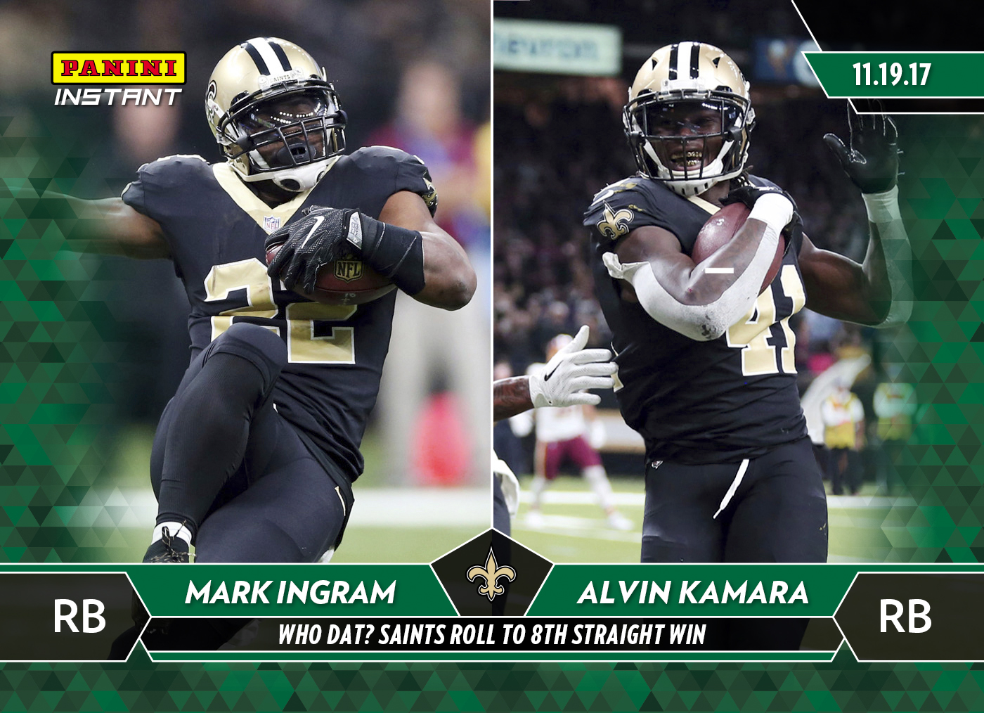 finest selection a9225 60714 Mark Ingram & Alvin Kamara - 2017 Panini Instant NFL #92 ...