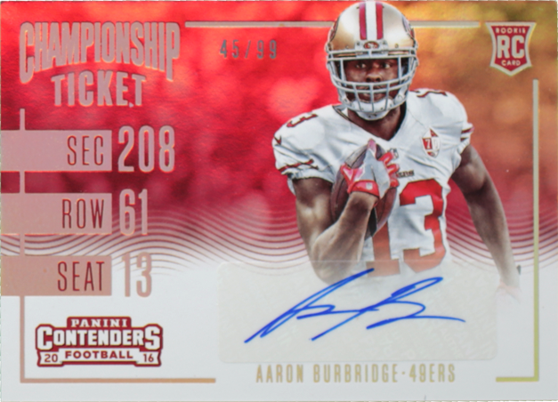 new style 37bfd 9a33b Aaron Burbridge-Contenders-Rookie Championship Ticket/Rookie ...