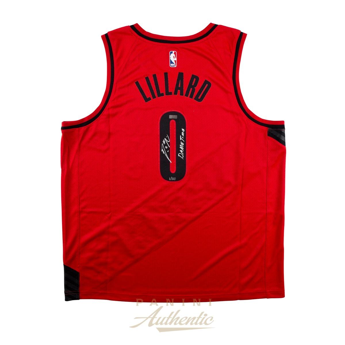 Damian Lillard Autographed Portland Trailblazers Red Nike Swingman Jersey With Dame Time Inscription Limited Edition To 100