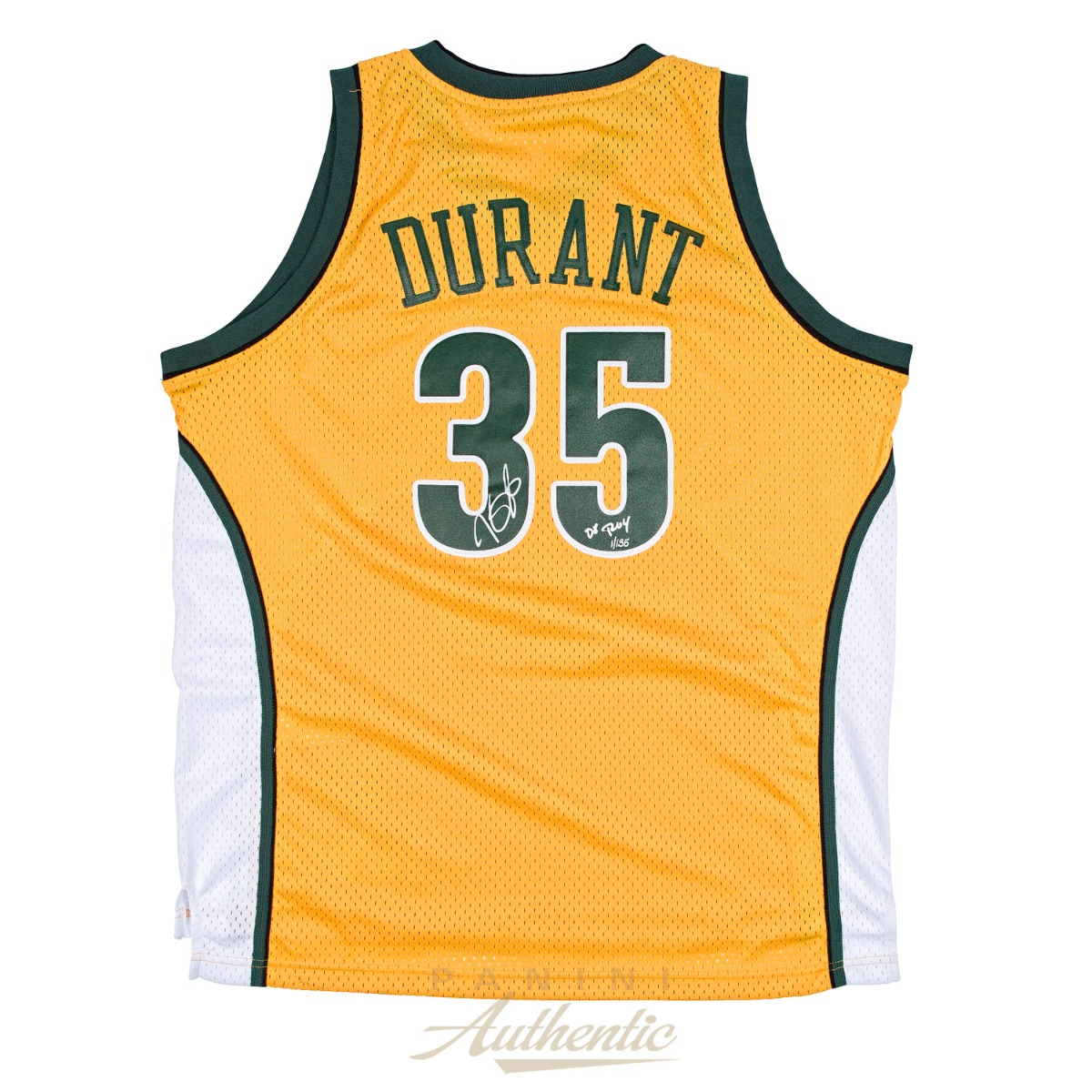 new arrival a4441 c30f3 Kevin Durant Autographed Yellow Supersonics Swingman Jersey ...