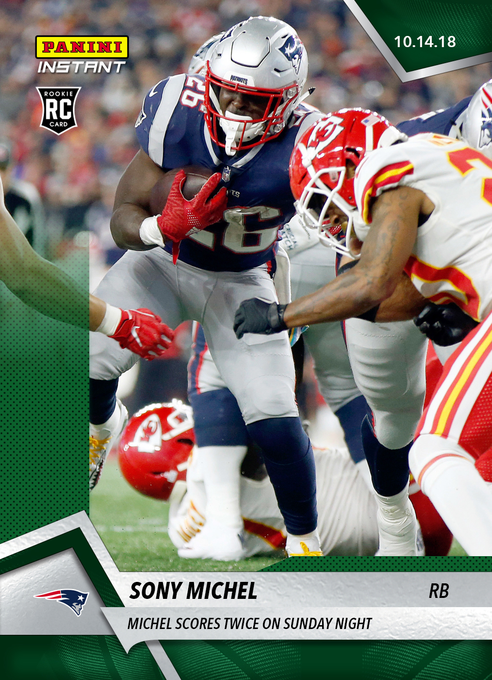 check out 4ecea 85f8f Sony Michel- 2018 Panini Instant NFL #67 – Green 1/10 ...
