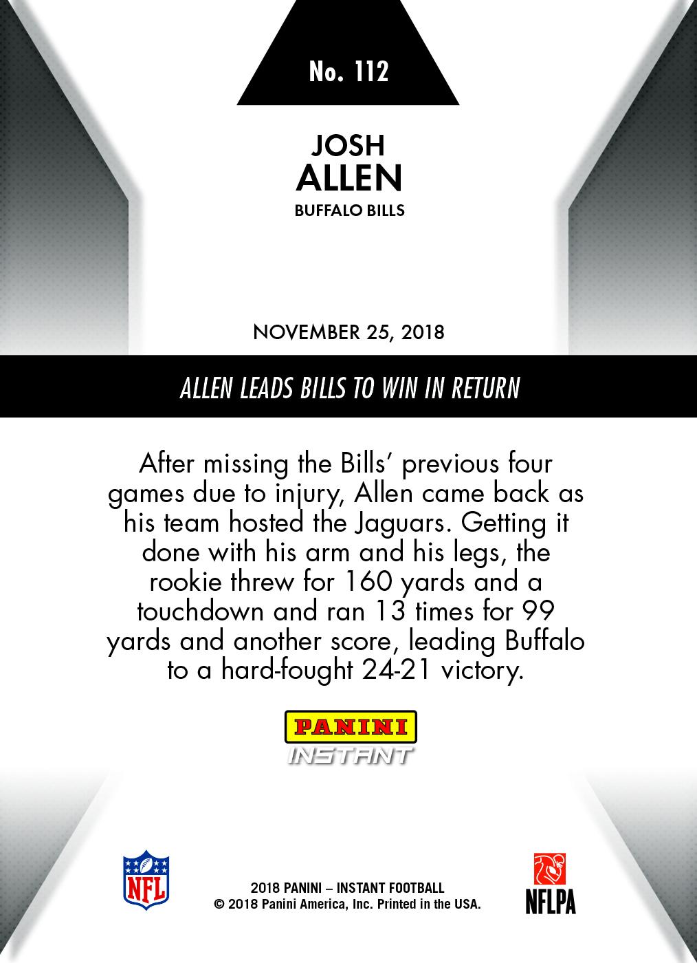 Josh Allen- 2018 Panini Instant NFL #112 – Green 1/10