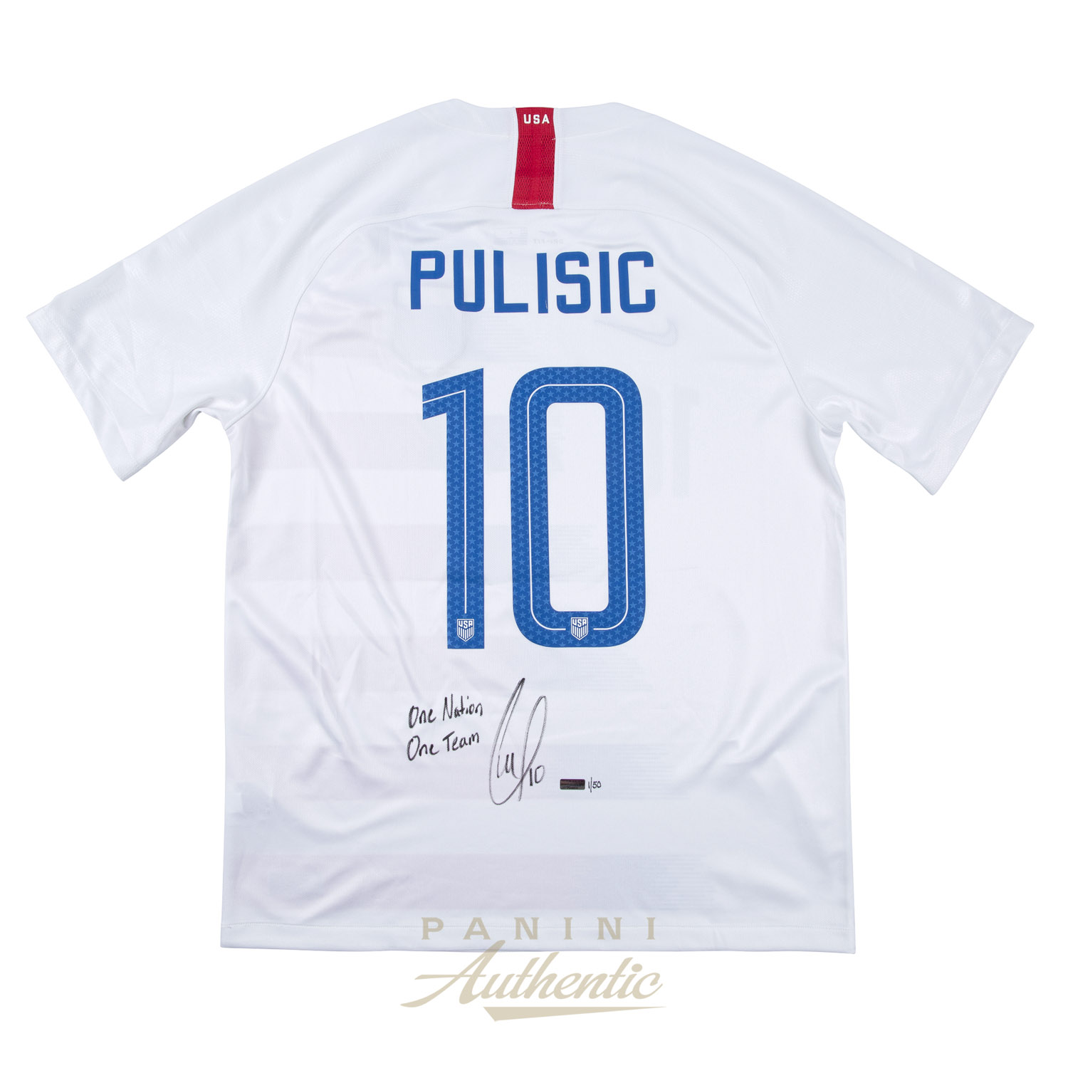 4bb7e9b6c Christian Pulisic Autographed 2018 Nike US Men s National Team White  10  Authentic Jersey with