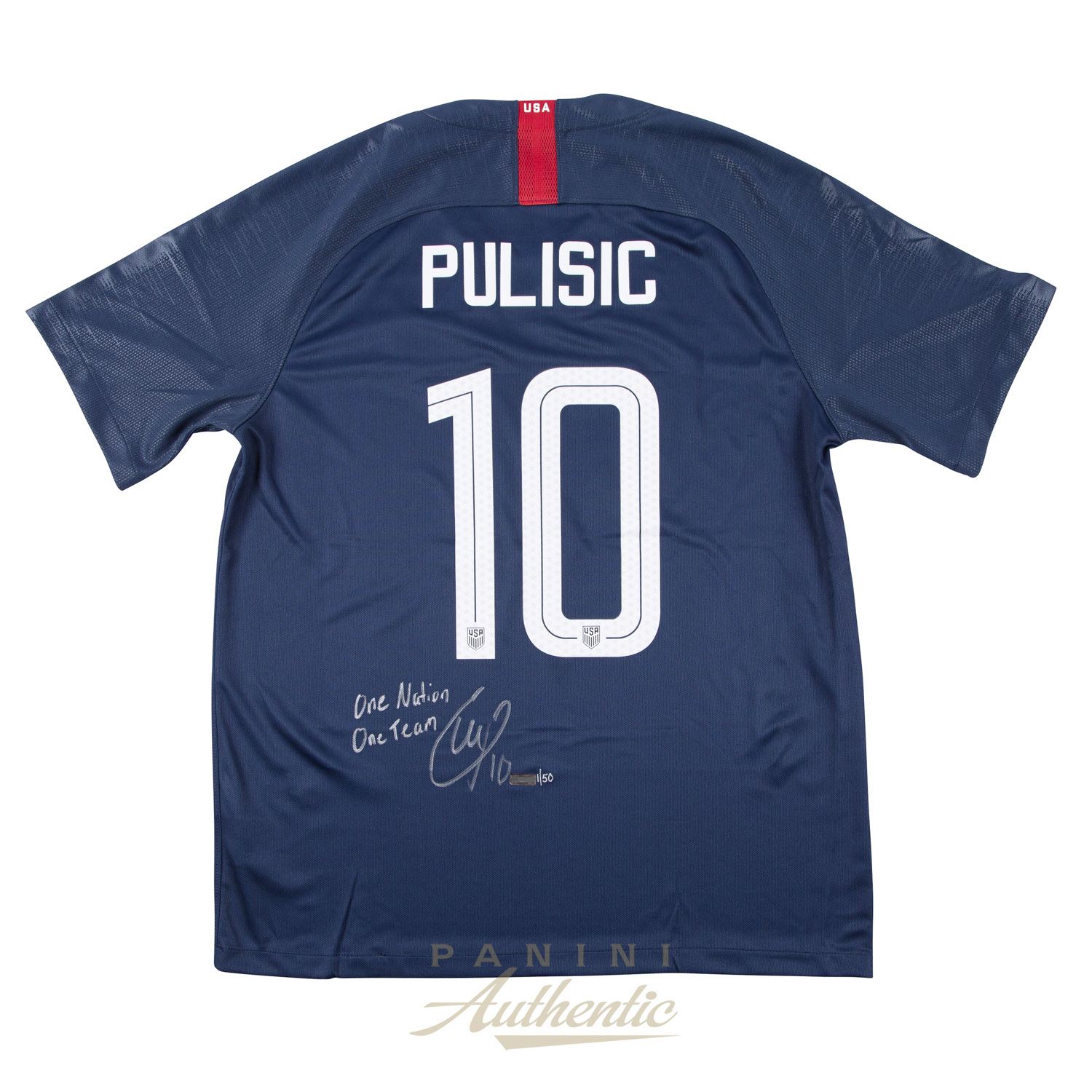 Christian Pulisic Autographed 2018 Nike US Men s National Team Blue  10  Authentic Jersey with